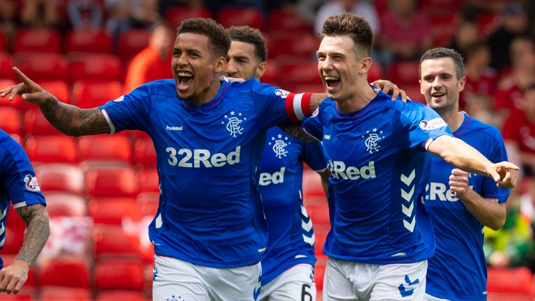 Rangers' James Tavernier (left) celebrates his penalty opener against Aberdeen with Ryan Jack.