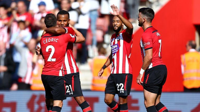 Southampton's Ryan Bertrand celebrates his goal with team-mate Cedric Soares