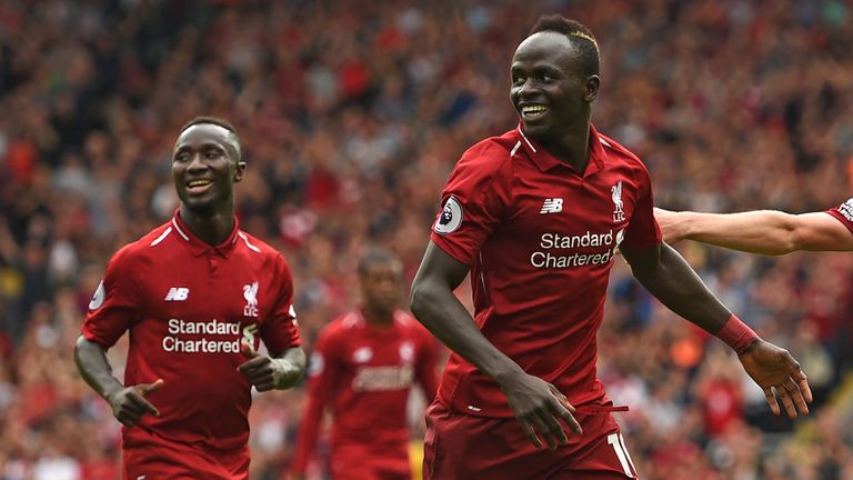 Sadio Mane celebrates after scoring Liverpool's third goal against West Ham