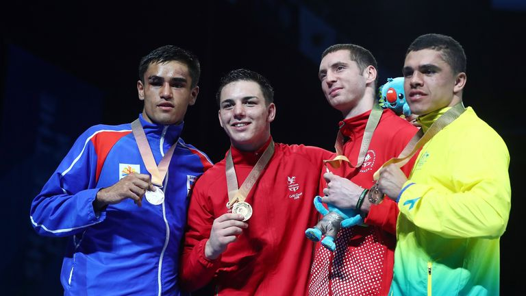 Sammy Lee (second left) won Commonwealth gold at the Gold Coast
