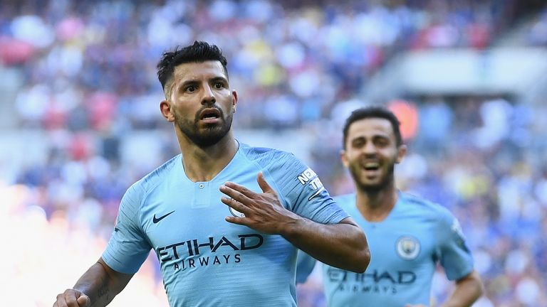 Aguero celebrates his second goal