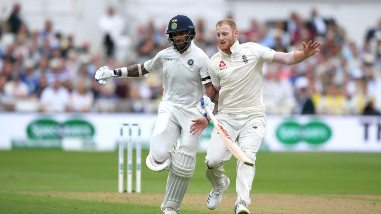 Shikhar Dhawan and Ben Stokes during the Specsavers 3rd Test match between England and India at Trent Bridge on August 18, 2018 in Nottingham, England.