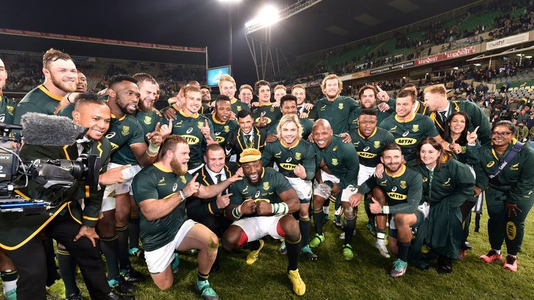 BLOEMFONTEIN, SOUTH AFRICA - JUNE 16: Springboks celebrate after winning during the 2018 Castle Lager Incoming Series match between South Africa and England at Toyota Stadium on June 16, 2018 in Bloemfontein, South Africa. (Photo by Johan Pretorius/Gallo Images/Getty Images)