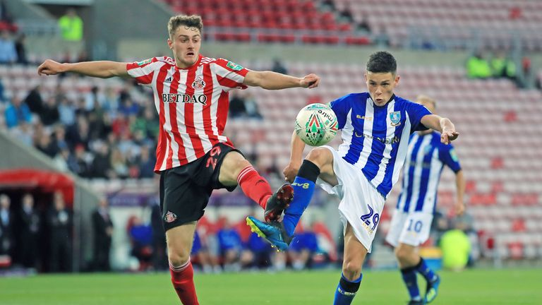 Elliot Embleton and Alex Hunt in action at the Stadium of Light