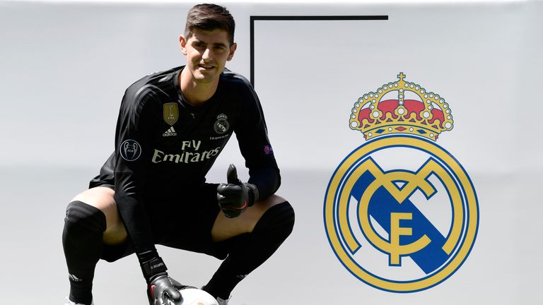 Courtois poses during his presentation at the Santiago Bernabeu