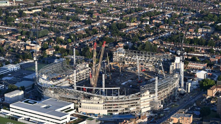 An aerial view of the White Hart Lane stadium back in July