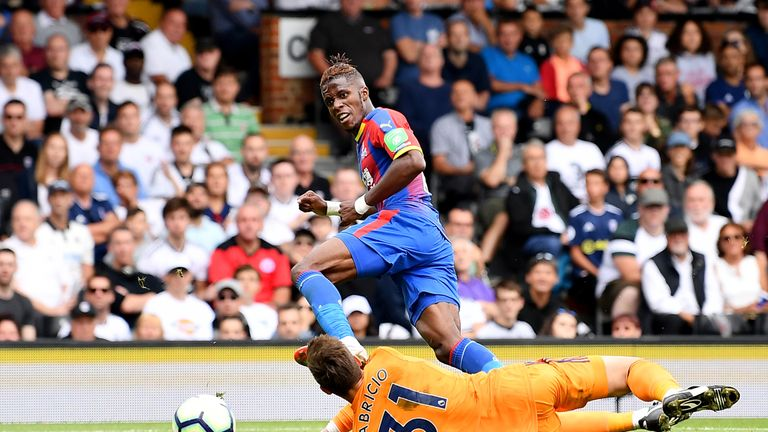 Wilfried Zaha scored the second goal of the game at Craven Cottage