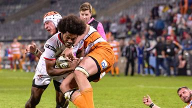 Ulster's Henry Speight scored a try with the time in red
