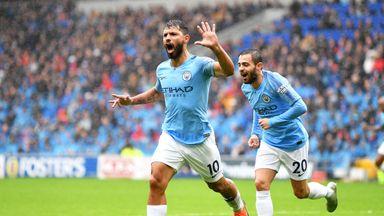 Sergio Aguero celebrates after scoring Manchester City's first goal