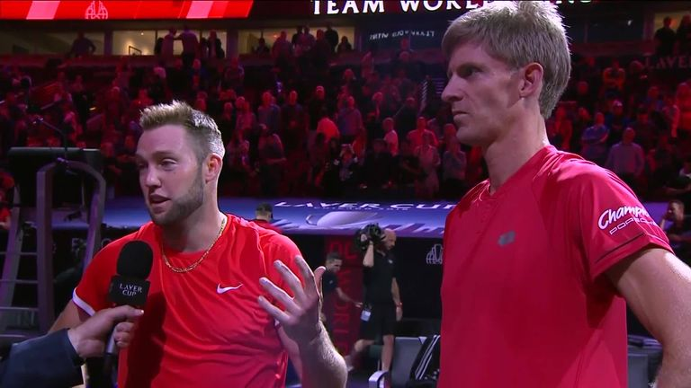 Jack Sock and Kevin Anderson spoke to Mark Petchey after winning their Laver Cup doubles clash on Friday night