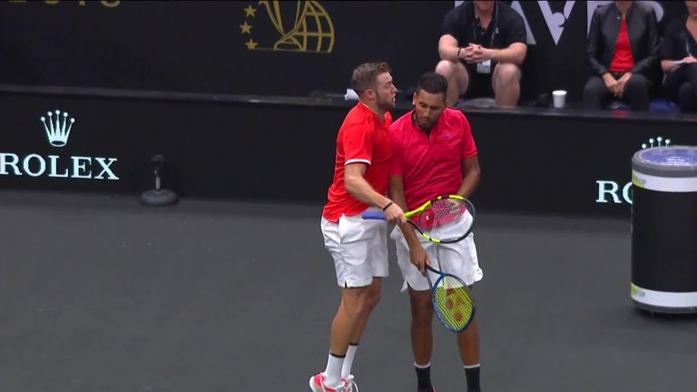 Jack Sock and Nick Kyrgios chest-bumped their way to a famous doubles victory for Team World
