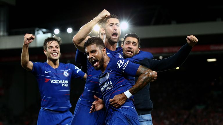 Emerson celebrates his equaliser with his Chelsea team-mates