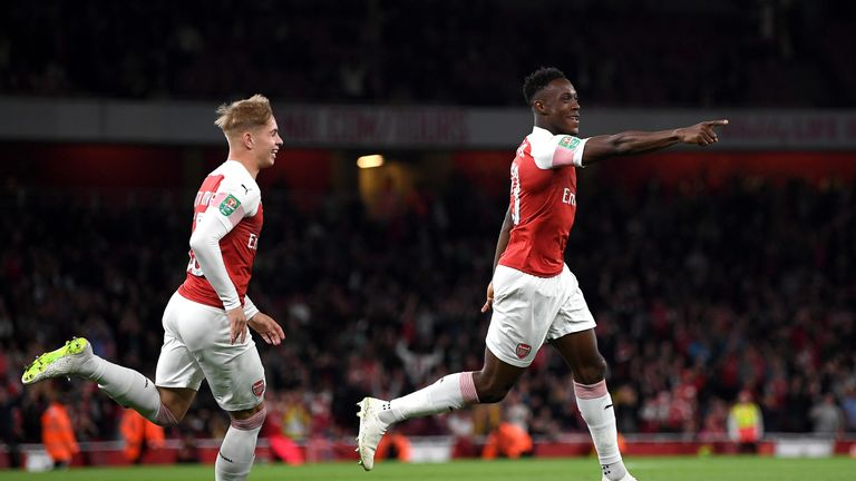 Welbeck celebrates his early goal