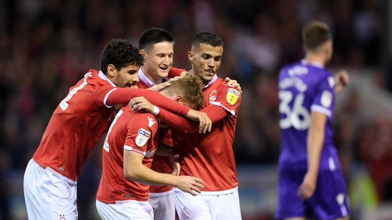 Ben Osborn is congratulated after scoring Nottingham Forest's opening goal