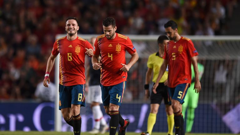 Saul is congratulated after giving Spain the lead against Croatia