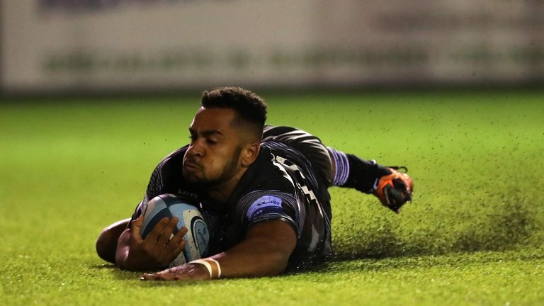 Newcastle Falcons' Zach Kibirige scoring their first try at Kingston Park on the night