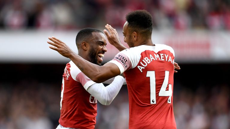 Lacazette and Aubameyang celebrate during Arsenal's 2-0 win against Everton