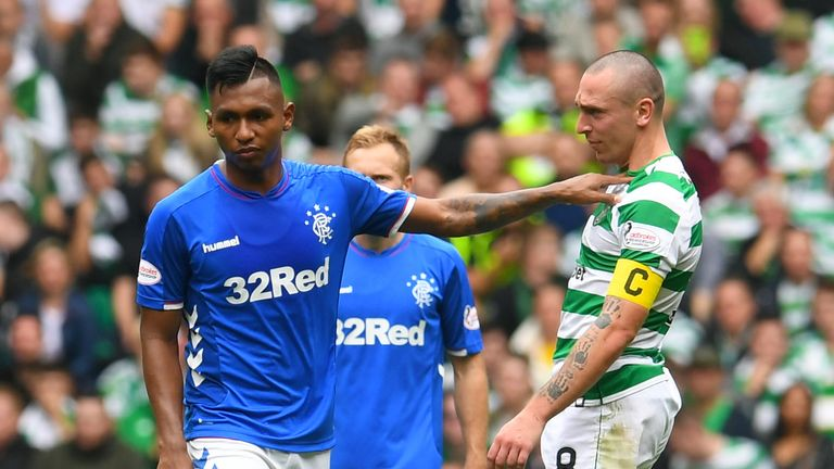 Alfredo Morelos shrugs off Scott Brown in what was a keenly-fought Old Firm clash back in September