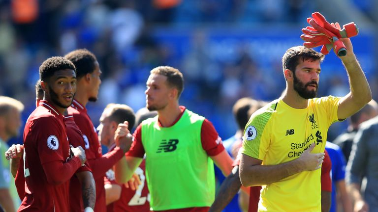 Alisson apologises to the travelling Liverpool fans after his mistake at Leicester