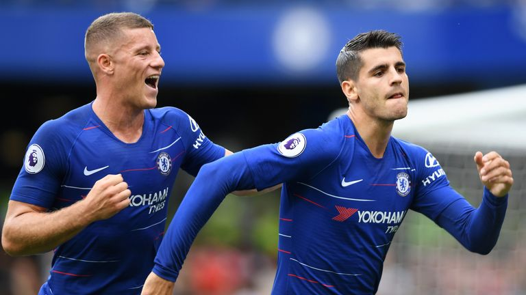 Alvaro Morata during the Premier League match between Chelsea FC and Arsenal FC at Stamford Bridge on August 18, 2018 in London, United Kingdom
