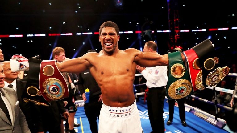 Joshua's world titles and unbeaten record are at stake in America