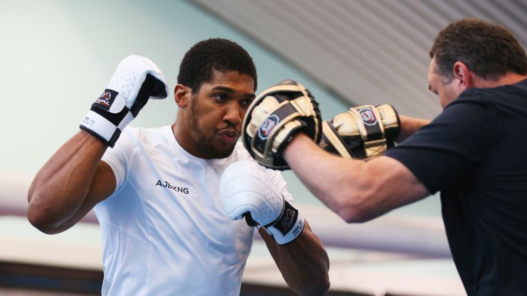 Joshua and trainer Rob McCracken went through their paces