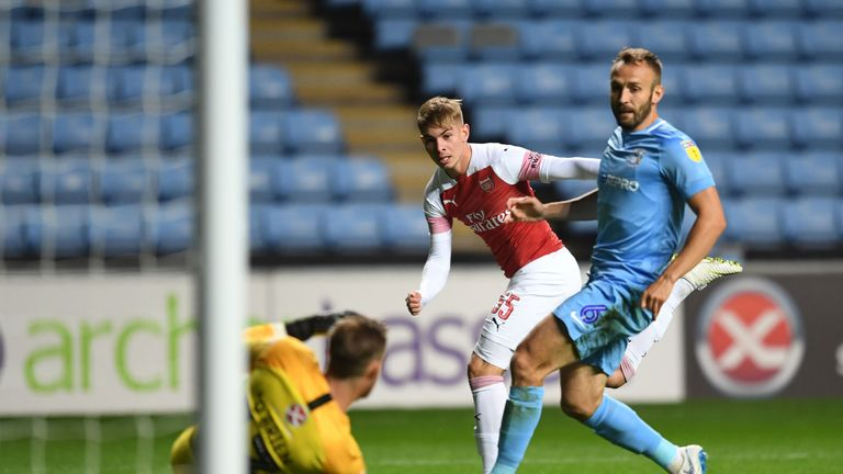 Emile Smith-Rowe scored at The Ricoh Arena