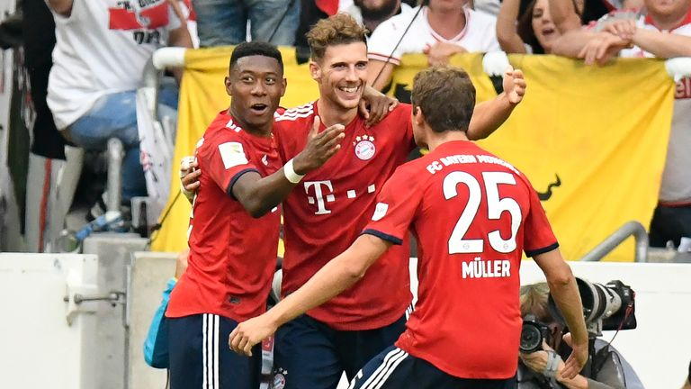 Leon Goretzka celebrates after scoring in Bayern's convincing win over Stuttgart