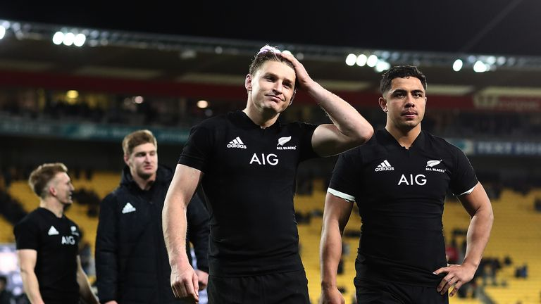 Beauden Barrett shows his disappointment after defeat in Wellington