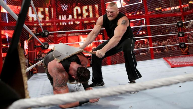 Brock Lesnar gatecrashed the Hell In A Cell main event to attack Braun Strowman and WWE Universal champion Roman Reigns