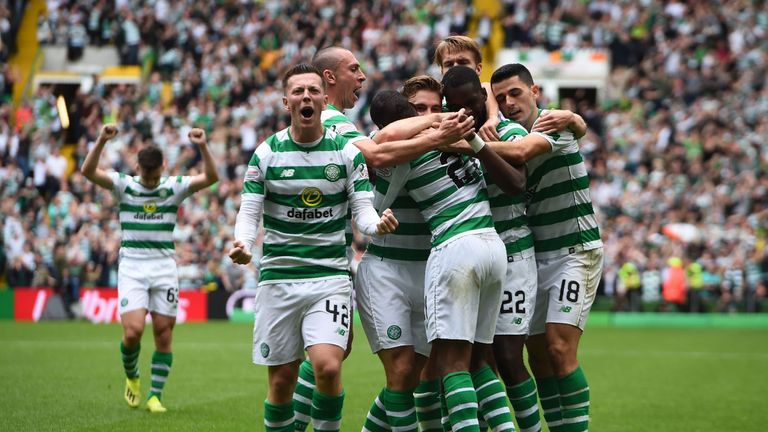 Celtic celebrate Olivier Ntcham's winner against Rangers