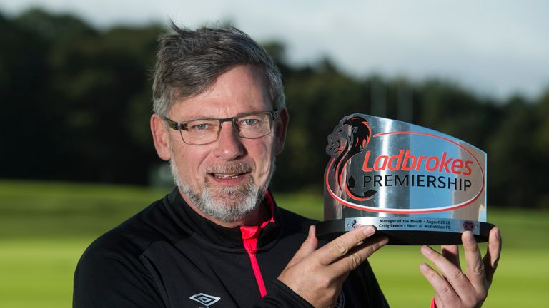 Craig Levein wins the Ladbrokes Premiership Manager of the Month Award for August