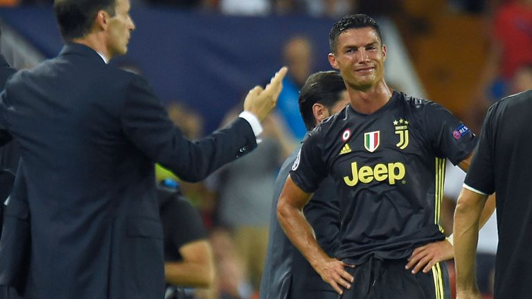Cristiano Ronaldo reacts after receiving a red card against Valencia