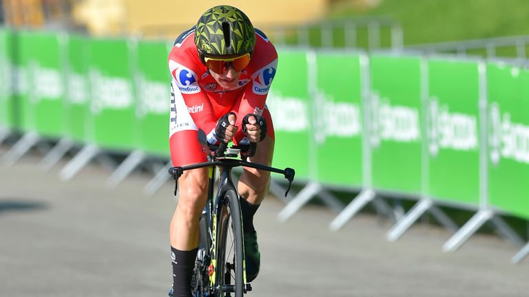 Simon Yates finished 13th on the stage 16 individual time trial at the Vuelta a Espana to retain the red jersey