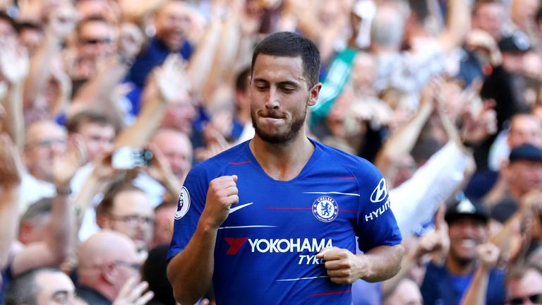 Eden Hazard celebrates his second-half goal