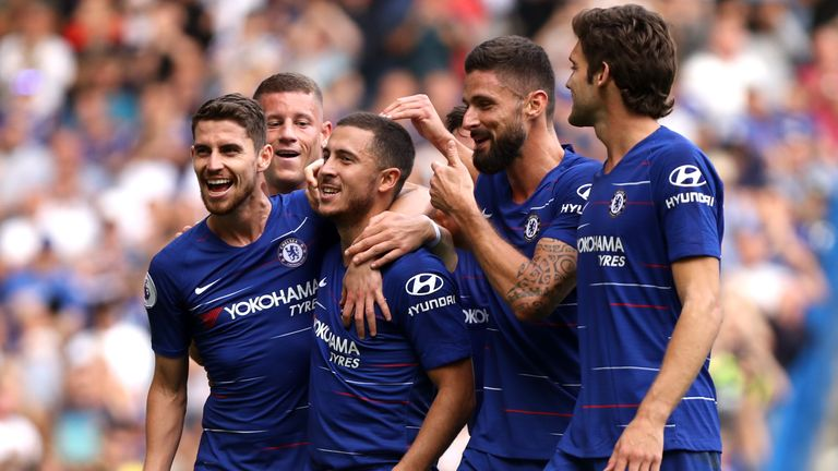 Eden Hazard celebrates with his Chelsea teammates after scoring in their 4-1 win over Cardiff.