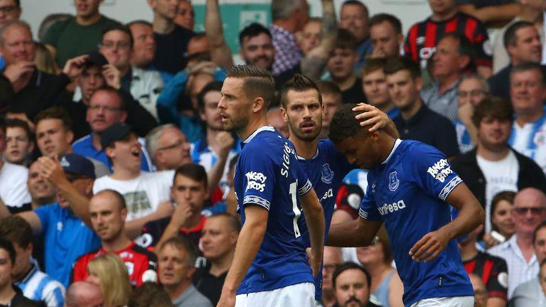 Calvert-Lewin is congratulated on his first Premier League goal this season