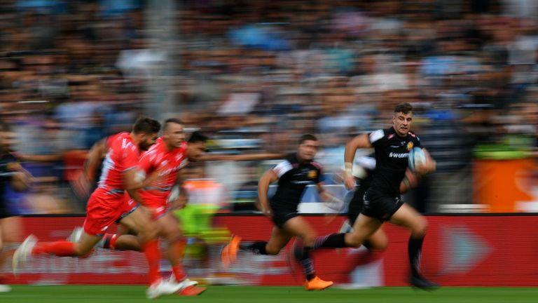Ollie Devoto breaking for Exeter Chiefs, who haven't lost in the competition at Sandy Park since October 2016