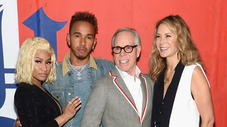 Hamilton with Nicki Minaj, Tommy Hilfiger and Dee Hilfiger at the TommyXLewis Launch Party in New York this week
