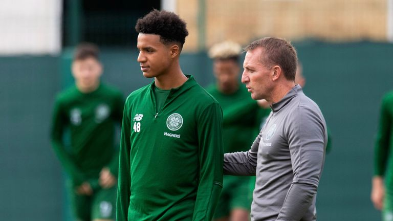 Celtic manager Brendan Rodgers (right) and Armstrong Okoflex