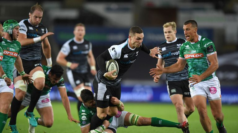 George North, in action here against Benetton, injected energy into a procession-like Ospreys victory
