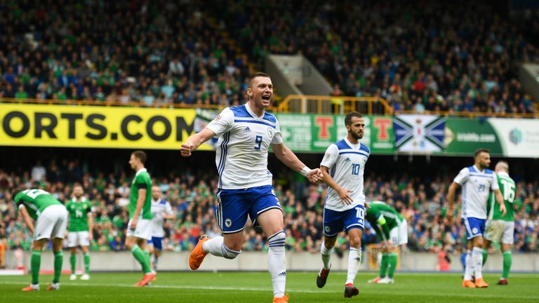 Haris Duljevic celebrates scoring for Bosnia and Herzegovina against Northern Ireland
