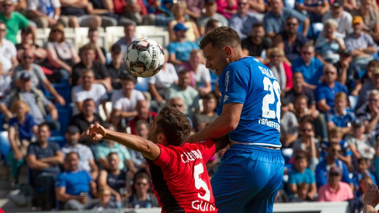 Adam Szalai rises to head home during Hoffenheim's victory over Freiburg