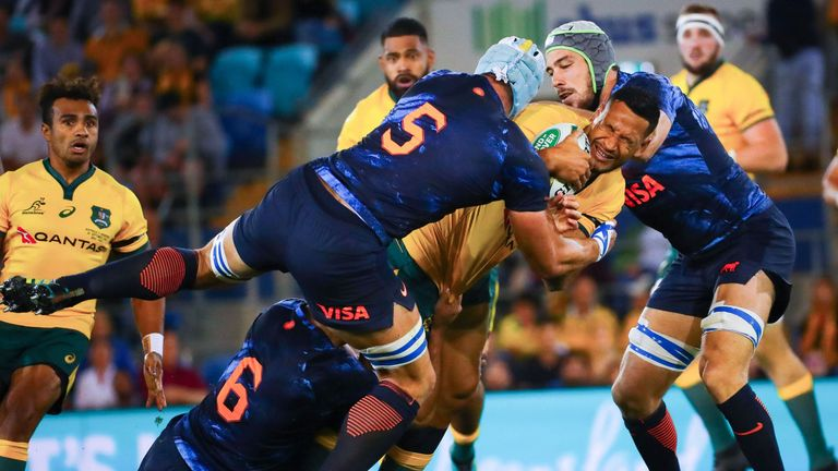 Israel Folau being tackled in the final seconds of Australia's match against Argentina