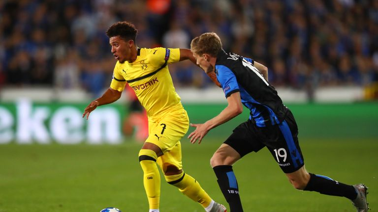 Jadon Sancho in action for Borussia Dortmund against Club Bruges