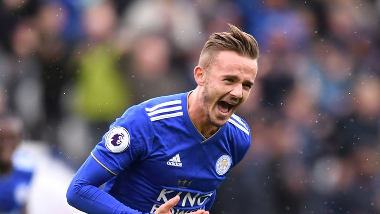 James Maddison celebrates after scoring Leicester City 's second goal