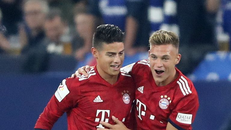 James Rodriguez celebrates his goal with team-mate Joshua Kimmich