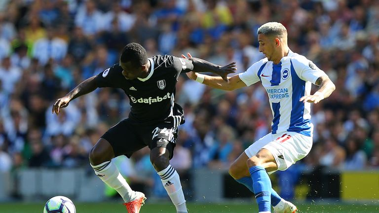 Jean Michael Seri and Anthony Knockaert battle for the ball