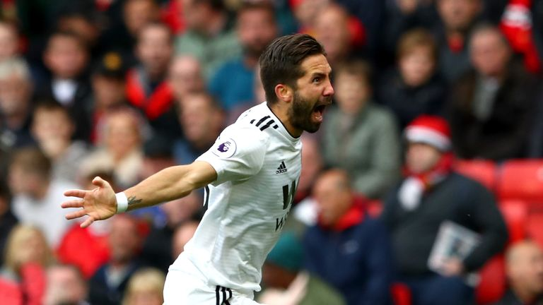 Joao Moutinho celebrates scoring Wolves' equaliser against Manchester United