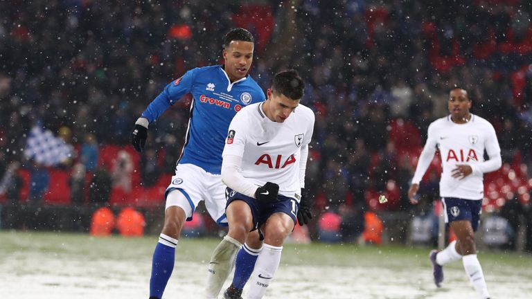 Thompson in action for Rochdale against Tottenham in last season's FA Cup